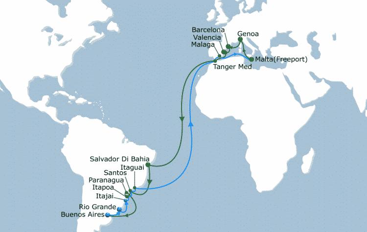 Algeciras, más cerca de América del Sur gracias al servicio Sirius / Bossa Nova