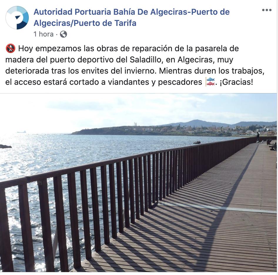 La APBA inicia el arreglo de la pasarela del puerto deportivo del Saladillo