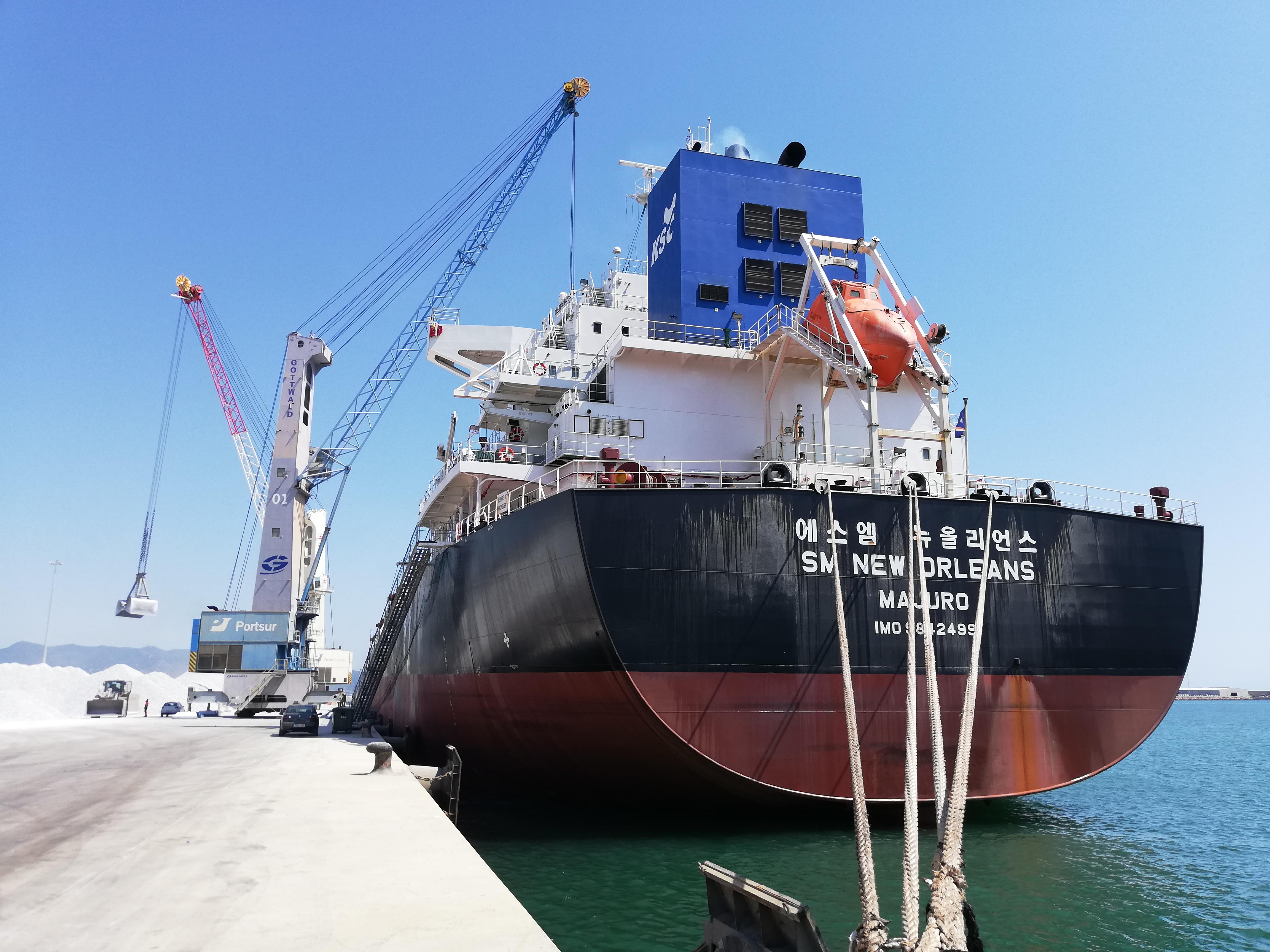 Récord histórico en el puerto de Castellón con el cargamento de 76.400 toneladas de anhidrita