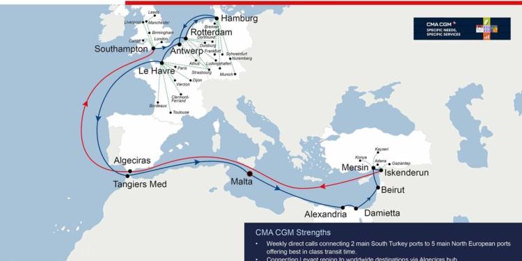El nuevo servicio NC Levant Express de CMA CGM escalará, a partir de este viernes, en Algeciras