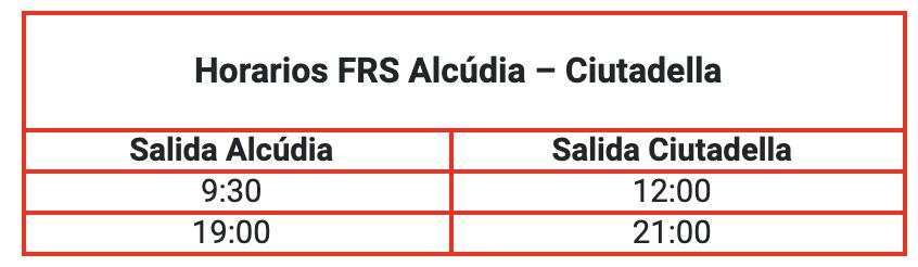 FRS comienza a operar la ruta Alcúdia-Ciutadella el 26 de mayo