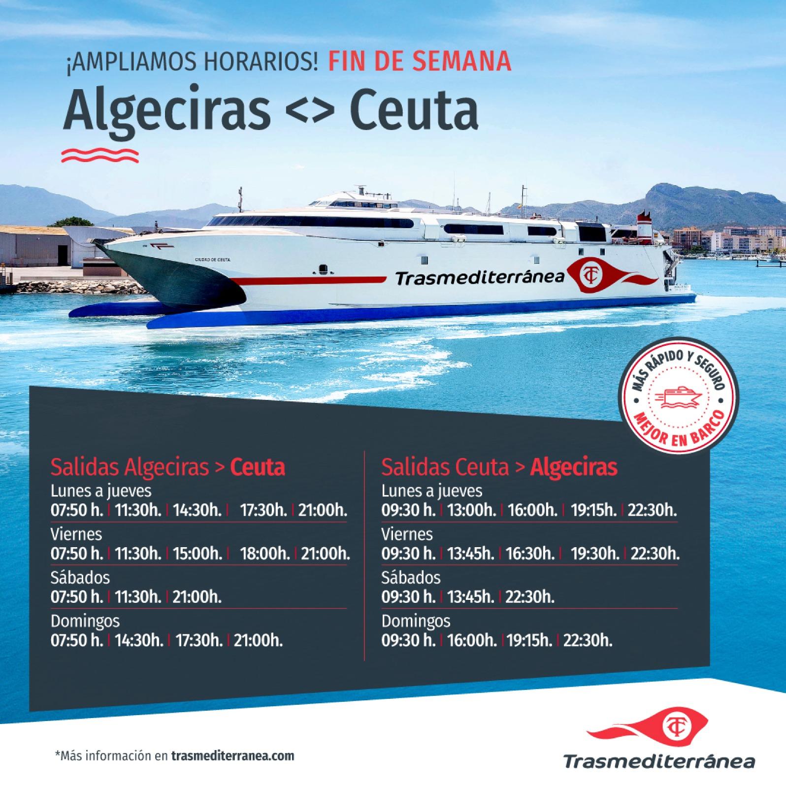 Naviera Armas Trasmediterránea refuerza Algeciras-Ceuta los fines de semana