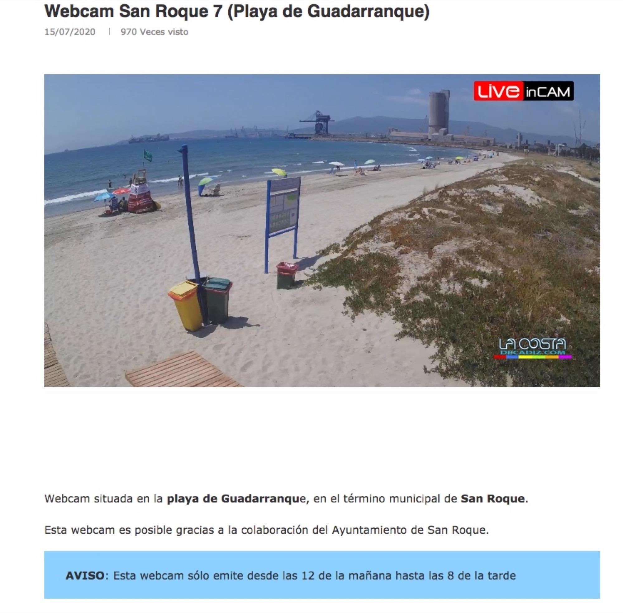 El Ayuntamiento de San Roque vuelve a instalar cámaras web en las playas del municipio