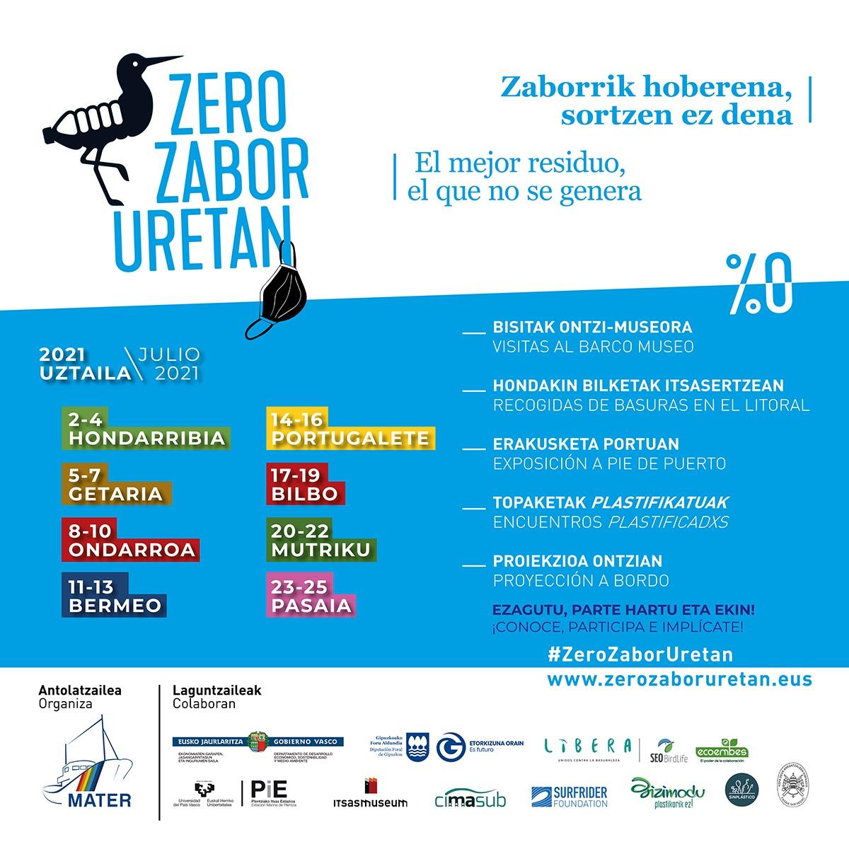 """La campaña """"Zero Zabor Uretan"""" sensibiliza por los puertos vascos sobre la problemática de los residuos en el mar"""